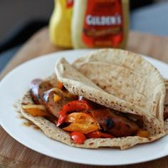 Italian Chicken Sausage and Pepper Pitas