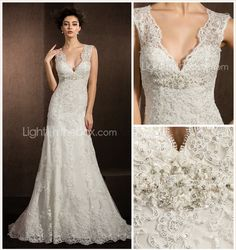 Sheath/Column V-neck Court Train Lace Wedding Dress - USD $ 250.00