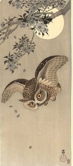 "A scops owl flying past a flowering cherry tree; the full moon behind (Koson aka ""Naga Oban"", 1910, woodblock print)"