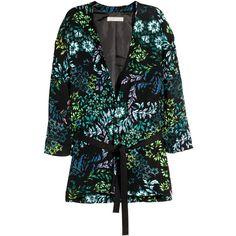 H&M Patterned kimono (€42) ❤ liked on Polyvore featuring intimates, robes, black, black robe, kimono robe, tie belt, patterned robes and black kimono robe