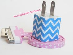 Blue Chevron iPhone Charger Decorated with Personality $22.50