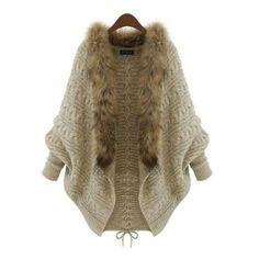Aliexpress.com: Comprar Invierno de Las Mujeres Cuello de Piel Suelta Suéter de la Manga Del Batwing Knit Cardigan Jacket Coat de chaqueta y pantalones set fiable proveedores en The goddess of new clothes