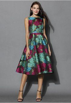 Peonies Charm Jacquard Prom Dress