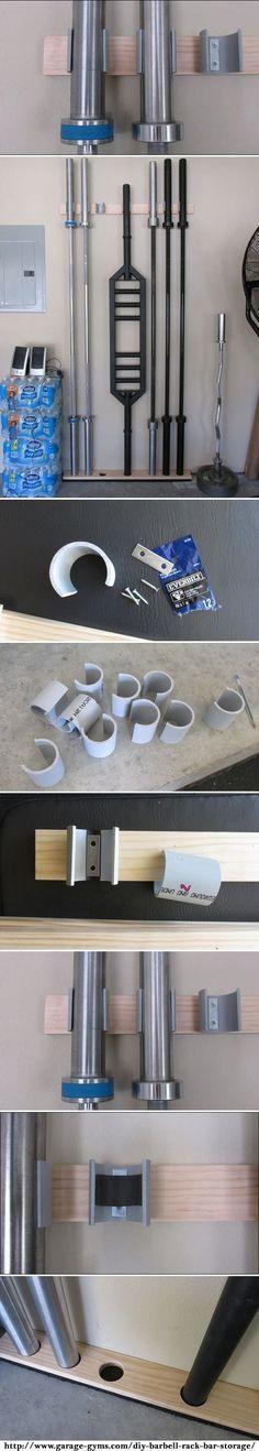 Space Saving DIY Barbell Rack / Bar Storage.