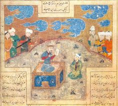 Mani Bukhram-Gur - Mani (prophet) - Painter Mani presenting king Bukhram-Gur (Bahram) with his drawing. 16th-century painting by Ali-Shir Nava'i, Shakrukhia (Tashkent).