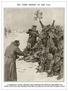 A Christmas truce - British and Germans fraternize, December 1914. Soldiers of the rival armies exchanged sweets, cigars, and cigarettes, and sang carols and songs in unison.