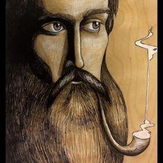 Sam Beam from iron and wine. Dont know if he even smokes a pipe but I would like to believe so. Sharpie and colored pencil on wood. #woodart #artofinstagram #artonwood #artoftheday #woodporn #nofilter #ironandwine #beard #beardart #pipe #smoke #sharpie #coloredpencil #woodart #sambeam #music #singersongwriter #musician by fellowfriend https://www.instagram.com/p/BB1e5gkEPXM/ #jonnyexistence #music