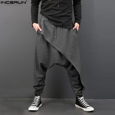INCERUN Vintage Men Loose Drop Crotch Drape Pants Dance Baggy Trousers Men Drawstring Harem Pants Men pantalon hombre Plus Size Harem Pants Men, Baggy Trousers, Baggy Sweatpants, Jogger Pants, Punk Fashion, Fashion Pants, Man Street Style, Man Style, Drape Pants