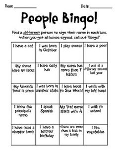 Printable pdf Human Bingo game. Ice-breaker activity. Suitable for ...