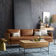 Industrial Storage Coffee Table and Leather Couch at West Elm AU