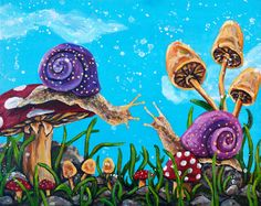 Original Acrylic Snail Painting  Meeting Place by rachelledyer