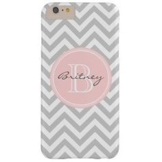 Gray Pink Chevron Pattern Custom Monogram Barely There iPhone 6 Plus Case