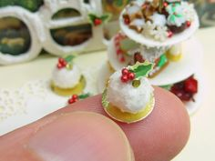 Boule de Neige (Snowball) - Individual French Christmas Pastry - 12th Scale Miniature Food. $14.00, via Etsy.
