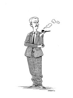 """WILLIAM FAULKNER.  A """"Persons Of Interest"""" drawing. You can get your own here, as my schedule allows, and see all the ones thus far here. Short version is I'll draw any famous/widely recognizable figure, fictional or historical or just popular, just once."""