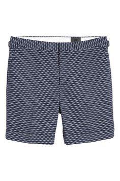 Jacquard-weave city shorts - Dark blue/Patterned - Men   H&M GB