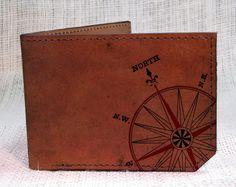 wallet - leather wallet - men wallet - mens leather wallet - Compass wallet. $37.00, via Etsy.
