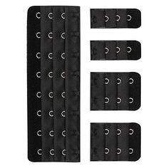 cc89af4afb Closecret Women s 3 Rows 3 4 inch Long-line Bra Corset Back Extender 8 - 14  Hooks (Black)  Amazon.co.uk  Clothing