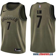 7cd2bdbbc741 Men s Nike Brooklyn Nets  7 Jeremy Lin Green Salute to Service NBA Swingman  Jersey Pitt