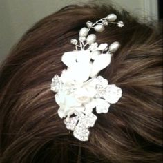 My wedding comb hairpiece... With a soon to be made veil attached