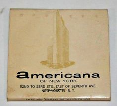 Americana Hotel NYC Matchbook Royal Box Vintage Unused Front Strike Lion Match