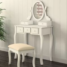 online shopping for Zeke Wood Makeup Vanity Set Mirror Beachcrest Home from top store. See new offer for Zeke Wood Makeup Vanity Set Mirror Beachcrest Home Corner Makeup Vanity, Wood Makeup Vanity, Bedroom Makeup Vanity, Makeup Vanities, Wooden Vanity, Makeup Stool, Makeup Dresser, Makeup Desk, Gold Makeup