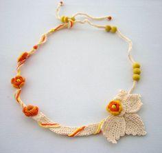 Hand Crochet  Cotton Necklace Choker Spring by CraftsbySigita  www.etsy.com/shop/CraftsbySigita