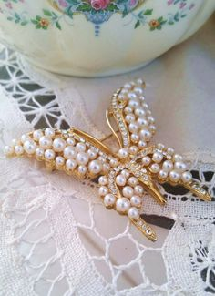Pearl butterfly brooch, Vintage jewelry, butterfly jewelry, holiday gifts for her, rhinestone brooch, vintage brooch, pearl jewelry, by Passion4Retro on Etsy