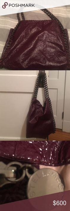 Handbag Stella McCartney classic bag in a deep plum  beautiful!! Has. Signs of wear on inside lining and I just noticed the tag has come off the bag. They will send another if you call them.  This is a gorgeous bag I purchased it in Bloomingdales NYC Stella McCartney Bags Shoulder Bags