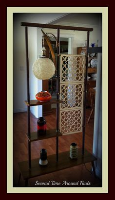 Mid-century lamp shelf divider unit.