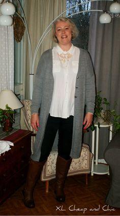 XL Cheap & Chic: Harmaa pitkä neuletakki ja lauantailinkki - Grey l...