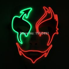 Funny New Design Flickering EL Wire Cold Light Horror Mask Music Sensitive Neon Led Strip Halloween Party Mask for Concert Disco #Affiliate