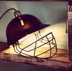 Items similar to Salvaged & Upcycled repurposed cricket helmet table lamp light on Etsy Cricket Crafts, Cricket Bat, Cricket Sport, Cricket Poster, Cricket Tips, Cricket Quotes, Cricket Wallpapers, Man Room, Room Boys
