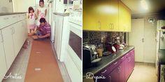 D.I.Y.   Comprando Meu Apê Adriane queria ter uma cozinha bem alegre, colorida e com azulejos hidráulicos, foi quando resolveu comprar adesivos que imitam este tipo de revestimento. Mas como sabemos, azulejos hidráulicos são no formato quadrado e o azulejo original da cozinha era retangular, dessa forma ficaria perceptível o rejunte marcando o adesivo. Foi então que seu marido teve a ideia de colocar uma chapa de eucatex revestindo os azulejos originais para depois aplicar os adesivos.