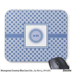 Monogram Country Blue Lace Circle and Checks #monogram #customizable #mousepad #blue
