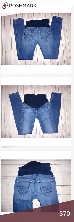 AG Adriano Goldschmied A Pea Pod Maternity Jeans AG Adriano Goldschmied Low Rise A Pea in the Pod SKINNY Stretch Maternity Jeans! Good Used!! Small dot at the thigh, see pic. 13.5 across & 4.5 rise 26 x 29.5 84% nylon & 16% spandex AG Adriano Goldschmied Jeans Skinny