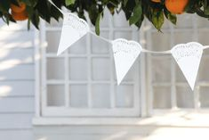 Sweet And Rustic Diy Paper Doily Bunting - Try with doilies from Dollar Tree. Paper Doilies Wedding, Doily Wedding, Wedding Bunting, Wedding Paper, Rustic Wedding, Wedding Decorations, Lace Doilies, Farm Wedding, Wedding Ceremony