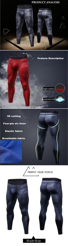 17cc9583e77 Mens PRO Quick-drying High-elastic Printed Skinny Legging Jogging Training  Sport Pants keep you out of injury and make you more comfortable when doing  ...