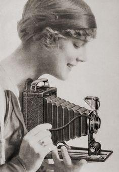 Girl with Kodak camera  (c 1910)