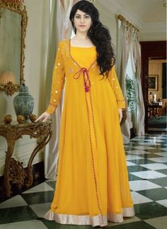 These Gown Designed Pure Georgette Fabric With Lace Border Work And Booti Work On Sleeves. Hijab Dress Party, Party Wear Dresses, Indian Wedding Outfits, Indian Outfits, Ethnic Gown, Anarkali Dress, Lehenga, Plain Dress, Simple Shirts