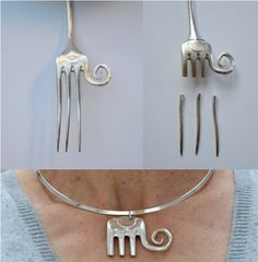 Jewelry Crafts, Jewelry Art, Vintage Jewelry, Handmade Jewelry, Fork Jewelry, Metal Clay Jewelry, Silverware Jewelry, Diy Rings, Metal Crafts