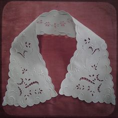 Antique Linen French Hand Embroidered Collar or Applique - Vintage Fine Handmade Fashion