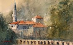 Balchik, Bulgaria by Sandy Strohschein Watercolor ~ 15 x 22 Wind Break, Grand Haven, County Park, Building Art, Watercolor Trees, Winter Trees, In The Tree, Summer Breeze, Little Birds