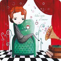 """Jehanne Weyman carte postale carrée (14 cm) """"Une note d'amour"""""""