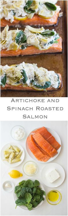 Artichoke and Spinach Roasted Salmon - oven roasted salmon topped with artichoke and spinach dip! Super delicious flavorful and easy salmon dinner