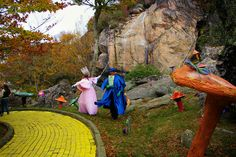 Off to see the Wizard of Oz on the yellow brick road at Autumn at Oz at Beech Mountain in North Carolina