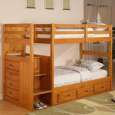 Discovery World Furniture Weston Twin Over Twin Staircase Bunk Bed with European Roller Glide Drawers in Rich Honey Lacquer Bunk Bed With Stairs And Storage, Bunk Beds With Drawers, Bunk Beds Built In, Wood Bunk Beds, Full Bunk Beds, Kids Bunk Beds, Bed Storage, Loft Beds, Full Bed