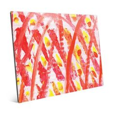 "Click Wall Art 'Archetti Light Up Matches Abstract' Painting Print on Glass Size: 11"" H x 14"" W x 1"" D"