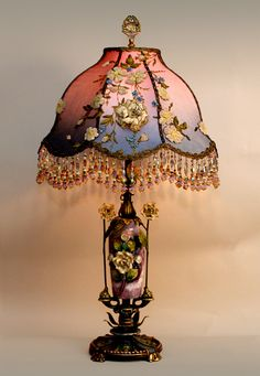 Nightshades - exquisite, one-of-a-kind antique and vintage fabric lampshades on period lamp bases with hand beaded fringe. Old Lamps, Antique Lamps, Vintage Lamps, Vintage Lighting, Chandeliers, Chandelier Lamp, Victorian Lamps, I Love Lamp, Lamp Shades