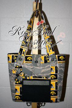 ABU/Iowa Hawkeyes Medium Tote w/Flower by RoseBudDesignsAK on Etsy, $75.00