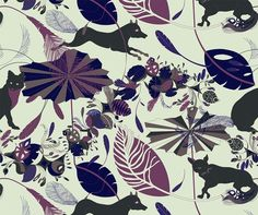 Foxtrot Pattern in Divinity Colorway - Available in Linen, Cotton and Wallpaper, all from The Whimsey Chronicles. Description: Fancy foxes dance a feather step through a field of folly going slow, slow . . . quick, quick, slow. #fabric #cotton #linen #upholstery #whimsey_chronicles @Whimsey  Chronicles #wallpaper #foxtrot #textiles #foxes #feathers #umbrellas